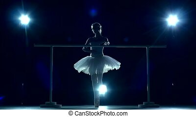 ballerina standing near barre, slow motion