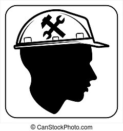 ouvrier, signe, -, construction, site,