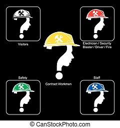 Safety Helmet Colours - Construction Site, vector