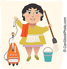 The Cleaning Lady - A cleaning lady with her vacuum, mop,...