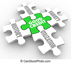 Good Credit Puzzle PIeces Factors Payment History...