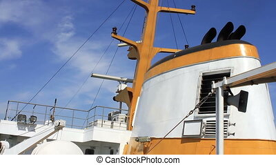 Ship radar navigation system and chimney in a clear blue sky...