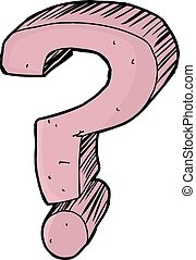 Isolated Question Mark Cartoon - Single hand drawn pink...