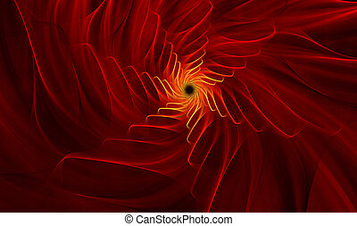 fractal background with bright red flower with gold midway -...