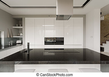 Black and white kitchen interior - Picture of black and...