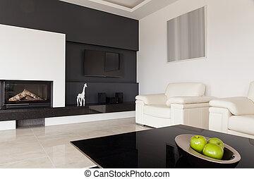 Black and white living room - Modern black and white living...