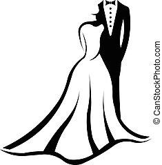 boda, pareja, logotipo,