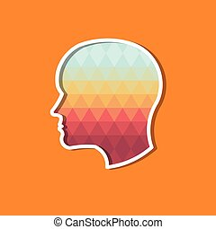 Person Head in triangles. Concept of modernism and...