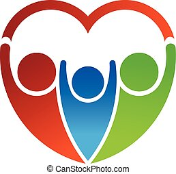 Group of people forming a heart. Family care concept