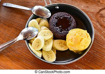 Ice cream banana chocolate