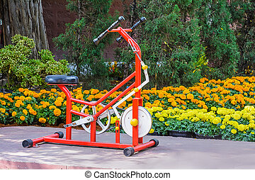 Exercise equipment. - Exercise equipment is located in the...