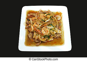 Stirfried shrimp, pork and ginger - Stirfried shrimp and...