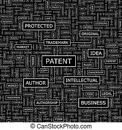 PATENT Seamless pattern Word cloud illustration