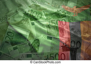 colorful waving zambian flag on a euro money background