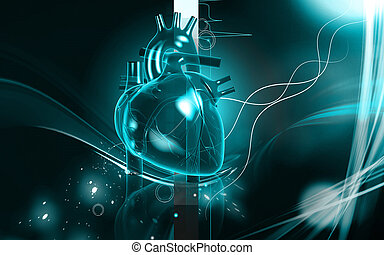 Heart - Digital illustration of heart in colour background...