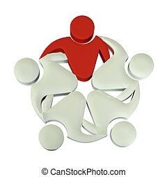 Trabalho equipe, 3D, líder, logotipo,