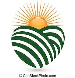 Sun agriculture logo - Sun agriculture landscape heart shape...