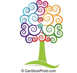 Tree swirly logo - Colorful Tree with swirly hearty leafs...
