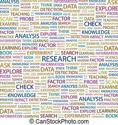 RESEARCH. Word cloud concept illustration. Wordcloud...