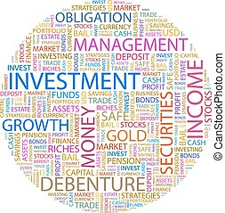 INVESTMENT Word cloud illustration Tag cloud concept collage...