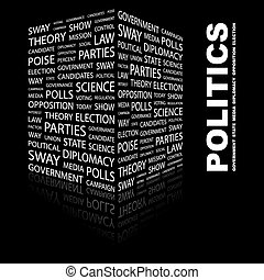 POLITICS. Word cloud illustration. Tag cloud concept...