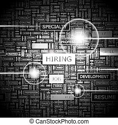 HIRING. Concept illustration. Graphic tag collection....