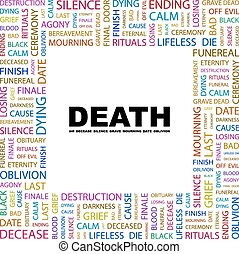 DEATH. Concept illustration. Graphic tag collection....