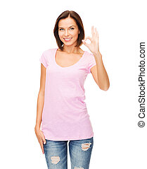 woman in blank pink t-shirt showing ok gesture - happy...