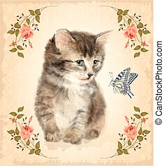 Vintage card with fluffy kitten and butterfly.  Imitation of watercolor painting.