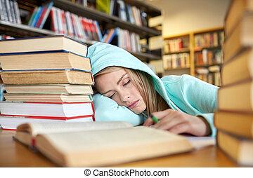 mujer, biblioteca, sueño, Libros, Estudiante, o