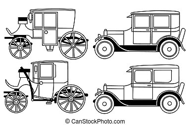 set of the retro cars - vector