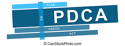 PDCA - Plan Do Check Act Blue - PDCA concept image with text...