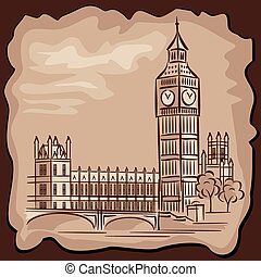 Big Ben - vector images of London Big Ben in vintage style