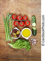 Healthy eating concept food set - asparagus, tomatoes,...