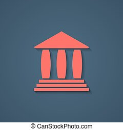 red bank or greek colonnade icon with shadow concept of...