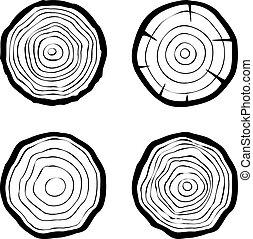 cuatro, anillos, Conjunto, árbol, iconos