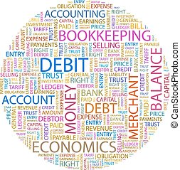 DEBIT. Background concept wordcloud illustration. Print...