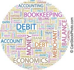 DEBIT. Background concept wordcloud illustration. Print...