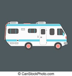 white travel camper van isolated on dark background. concept...