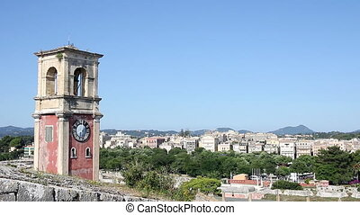Clock tower at old fortress with old city at background...