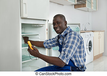 Technician Repairing Refrigerator Appliance - Happy African...