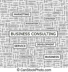 BUSINESS CONSULTING Seamless pattern Word cloud illustration...