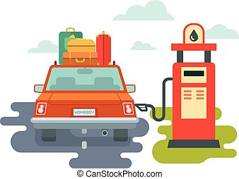 Refuel Car at Gas Station