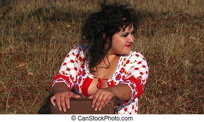 Cheerful Dark Haired Woman Having Fun At Nature - Waist up...