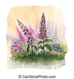Nature landscape with wildflowers. Watercolor floral...