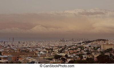 Barcelona  - Sunset in Barcelona& Timelapse