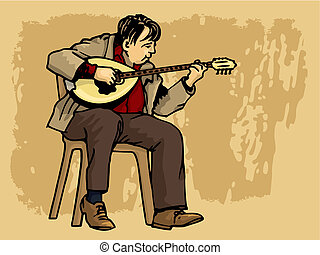 Bouzouki performer casual dressed vector - Middle aged man...