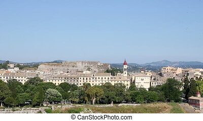 old town Corfu and fortress cityscape Greece