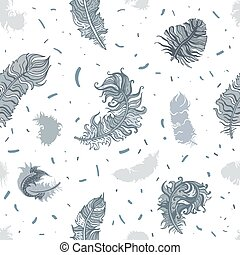 Feathers. Seamless pattern - Vintage Feathers seamless...