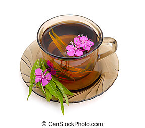 Tea with rosebay willowherb in glass. Isolated on white...